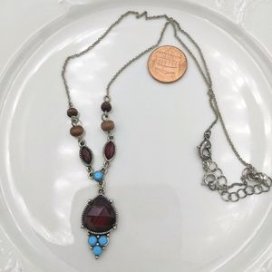 Vintage Avon Red Turquoise Beaded Drop Necklace